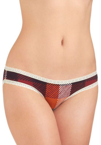 Plaid Personality Undies by PACT - Cotton, Red, Multi, Plaid, Lace, Trim, Casual, Vintage Inspired