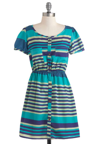 On the Horizon-tal Dress - Short, Blue, Blue, Stripes, Buttons, Pockets, Casual, A-line, Short Sleeves, Summer, Button Down
