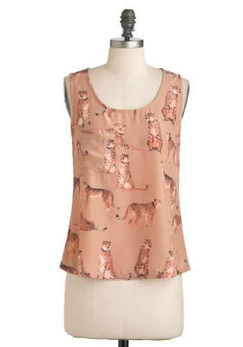 Kingdom of Class Top - Mid-length, Tan, Brown, Black, Buttons, Tank top (2 thick straps), Print with Animals, Casual, Statement