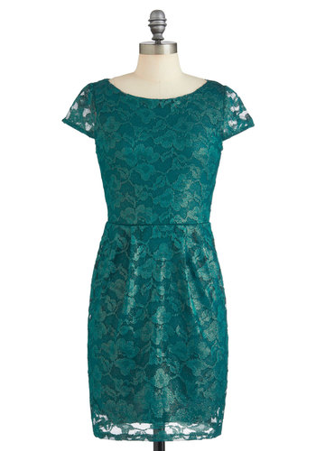 Lace Through the Pines Dress - Mid-length, Green, Solid, Lace, Party, Sheath / Shift, Cap Sleeves, Film Noir, Vintage Inspired, 50s, Cocktail, Holiday Party