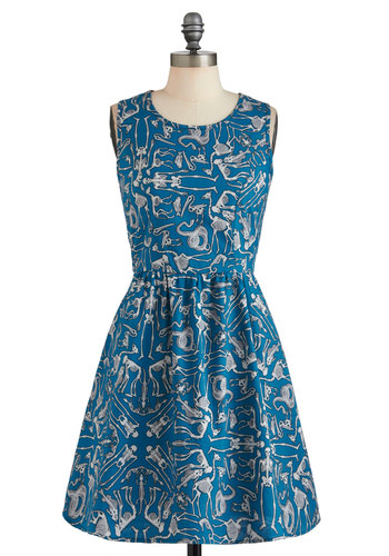 Let's Get Physiological Dress - Cotton, Mid-length, Blue, Grey, Novelty Print, Pockets, Casual, Quirky, A-line, Sleeveless, Spring