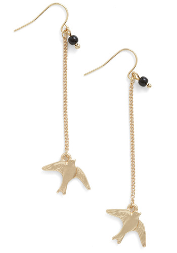 Aloft Like Love Earrings - Gold, Black, Solid, Beads