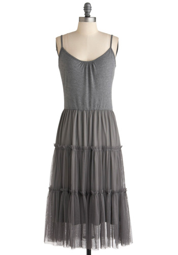 Proper At-tier Dress - Long, Grey, Solid, Tiered, Casual, Ballerina / Tutu, Spaghetti Straps, Boho, Sheer
