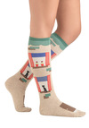 Suite Deal Socks - Tan, Multi, Novelty Print, Knitted