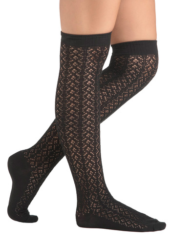 A Friend in Knee Socks in Coal - Black, Solid, Knitted, Casual, Vintage Inspired, Fall
