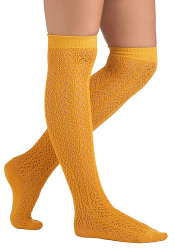 A Friend in Knee Socks in Marigold by Tabbisocks - Yellow, Solid, Cotton, Casual, Vintage Inspired, Fall