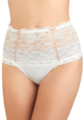 The Charm That Counts Thong in Cloud - White, Tan / Cream, Solid, Bows, Lace, Wedding, Pinup, Sheer, Variation