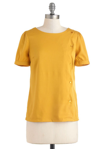 Spice is Nice Top - Mid-length, Yellow, Buttons, Scallops, Short Sleeves, Work