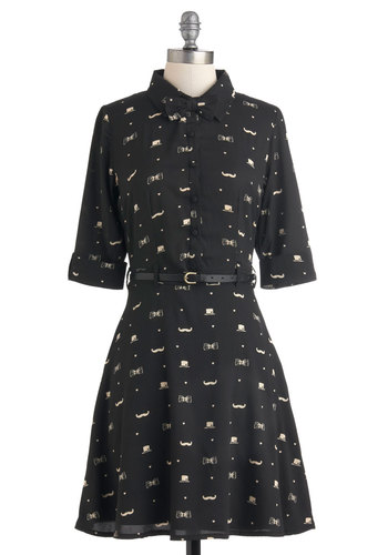 Old Fashionable Dress by Yumi - Mid-length, Black, Tan / Cream, Print, Buttons, Belted, Film Noir, Shirt Dress, 3/4 Sleeve, Fall, Menswear Inspired, Button Down, Collared
