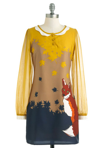 Up-and-Cunning Dress by Yumi - Short, Yellow, Orange, Blue, Tan / Cream, Print with Animals, Buttons, Party, Sheath / Shift, Long Sleeve, Fall, Sheer