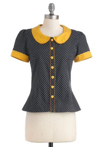 Dots the Way I Like It Top - Mid-length, Cotton, Yellow, Polka Dots, Buttons, Peter Pan Collar, Short Sleeves, Black, White, Vintage Inspired, 60s, Button Down, Collared, Work