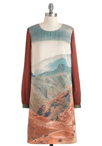 Glam Canyon Dress by Nice Things - Mid-length, Orange, Blue, Brown, Print, Casual, Sheath / Shift, Long Sleeve, Fall, Mod, International Designer, Travel