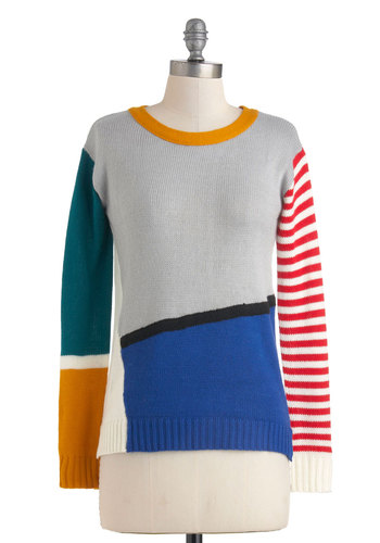 Color Me Fine Sweater - Grey, Red, Green, Blue, White, Knitted, Long Sleeve, Mid-length, Casual, 80s, Colorblocking
