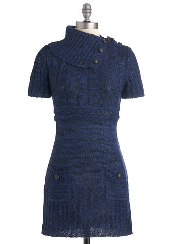 Afternoon Reading Dress in Navy - Short, Blue, Solid, Buttons, Pockets, Casual, Sweater Dress, Short Sleeves, Fall, Cowl, Variation