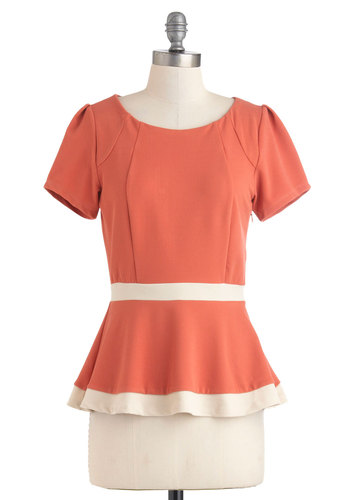 Sweets Boutique Top - Pink, Tan / Cream, Buttons, Peplum, Short Sleeves, Party, Work, Mid-length, Coral