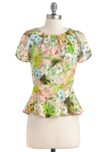 Bloom and Blush Top - Mid-length, Green, Blue, Floral, Peplum, Short Sleeves, Party, Work, Vintage Inspired, Pastel, Multi, Pink, Crew
