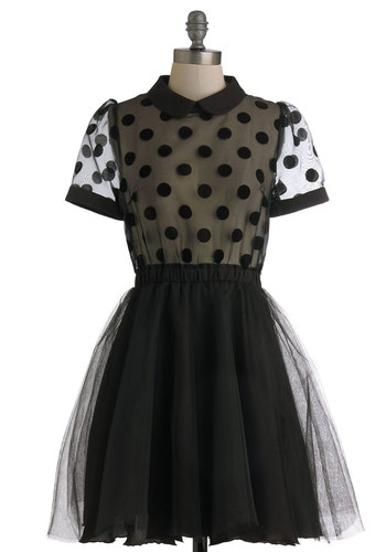 Sheer to Your Heart Dress - Black, Polka Dots, Party, Cocktail, Rockabilly, Vintage Inspired, A-line, Ballerina / Tutu, Short Sleeves, Mid-length