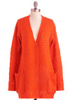 Fresh Pressed Cardigan - Orange, Solid, Buttons, Knitted, Pockets, Long Sleeve, Casual, 90s, Tis the Season Sale