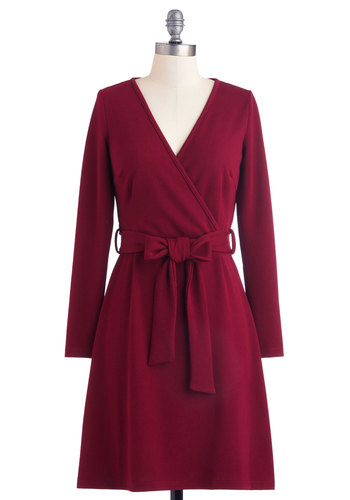 Dance Company Picnic Dress - Mid-length, Red, Solid, Belted, Casual, Shift, Long Sleeve, Fall, Work, V Neck