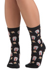 Take Out of Curiousity Socks - Black, Multi, Novelty Print, Knitted
