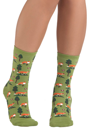 Do Re Mi Fox Socks - Green, Multi, Print with Animals, Knitted, Best Seller, Top Rated, Quirky, Critters, Woodland Creature