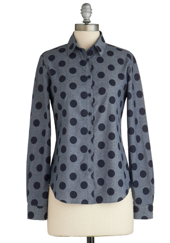 Punctuation Rock Top - Polka Dots, Buttons, Casual, Long Sleeve, Cotton, Exclusives, Grey, Mid-length, Collared, Grey, Long Sleeve