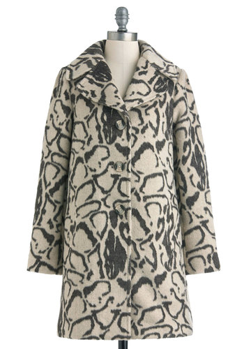 Here's Looking at Queue Coat by BB Dakota - Long, Animal Print, Buttons, Long Sleeve, 3, Cream, Grey, Pockets, Special Occasion, Vintage Inspired, 40s