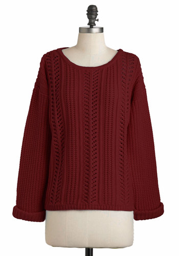 Good Company Sweater in Burgundy - Red, Solid, Knitted, Long Sleeve, Mid-length, Casual, 90s, Fall