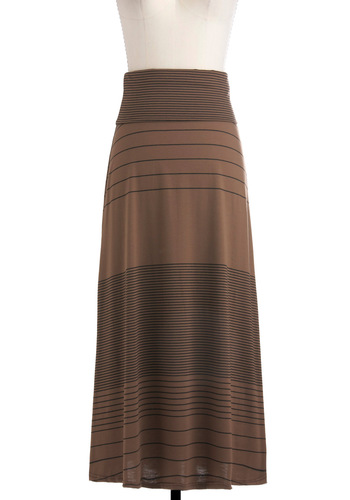Java Jump Skirt - Long, Brown, Black, Stripes, Maxi, Casual, Boho