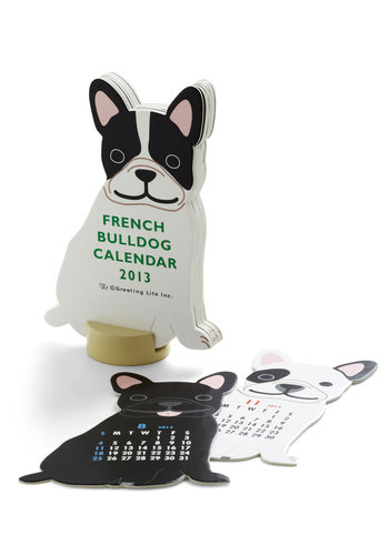Year of the Critter 2013 Calendar in Bull Dog - Multi, Print with Animals, Quirky, Holiday