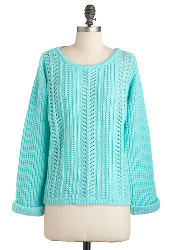 Good Company Sweater in Mint - Solid, Knitted, Long Sleeve, Mid-length, Casual, 90s, Blue, Mint