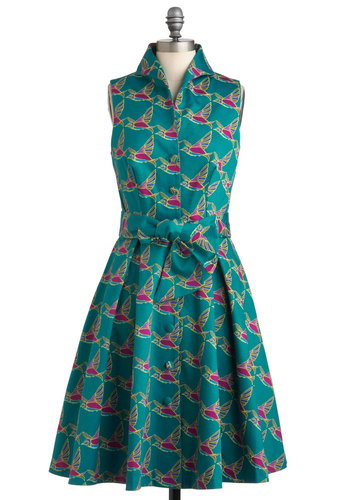 Backyard Feast Dress in Birds - Green, Buttons, Shirt Dress, Sleeveless, Spring, Belted, Fit & Flare, Cotton, Long, Pink, Print with Animals, Casual, Vintage Inspired, 50s, Exclusives, Neon, Button Down, Collared