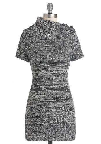 Afternoon Reading Dress in Black and White - Short, Grey, Solid, Buttons, Pockets, Casual, Sweater Dress, Short Sleeves, Fall, Cowl, Variation