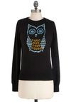 Hoot and Owl Sweater - Black, Solid, Sequins, Quirky, Scholastic/Collegiate, Long Sleeve, Fall, Mid-length, Cotton, Mod, Print with Animals, Novelty Print