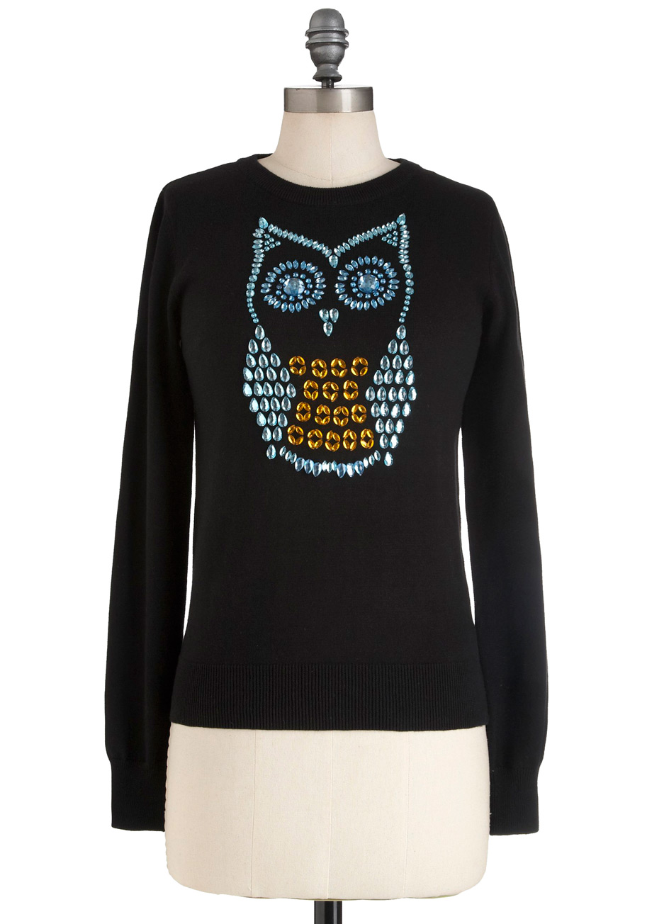 Tags: black owl sweater, apparel, sweaters and pullovers. Description Size Chart Specification Reviews (0) S: Bust cms stretchable. M: Bust cms stretchable. L: Bust cms stretchable (will fit XL sizes) O-Neck Loose style Animal Worsted Sweater.
