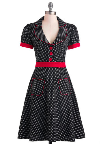 Worn With Aplomb Dress - Long, Cotton, Black, Red, White, Polka Dots, Buttons, Pockets, Casual, Rockabilly, Vintage Inspired, A-line, Shirt Dress, Short Sleeves, Collared, Fit & Flare, Pinup, 60s