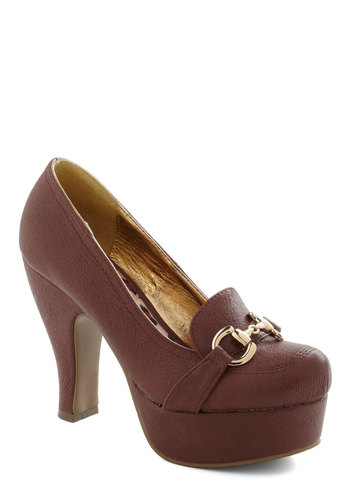 Winning Wordsmith Heel by B.A.I.T. Footwear - High, Leather, Faux Leather, Brown, Buckles, Platform, Work, Scholastic/Collegiate