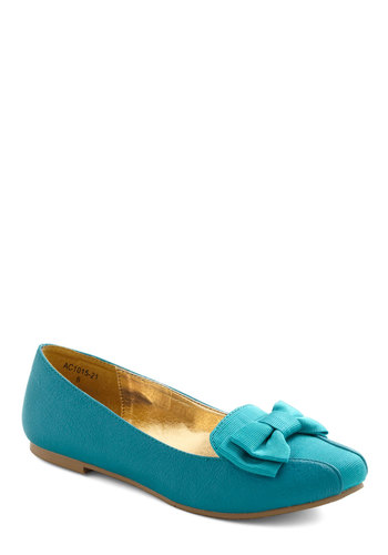 Aqua-ired Tastes Flat by Bait Footwear - Flat, Blue, Solid, Bows, Casual, Faux Leather