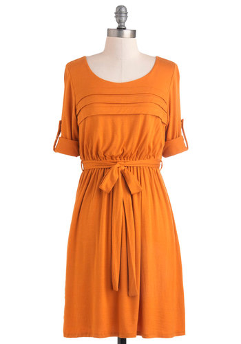 Solid Bold Dress - Mid-length, Yellow, Solid, Belted, Casual, Long Sleeve, Fall, Vintage Inspired