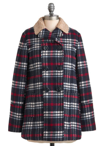 Around the Campfire Coat - Long, Blue, Red, White, Plaid, Buttons, Pockets, Long Sleeve, 3, Double Breasted, Rustic