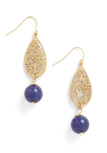 Shop 'til You Teardrop Earrings - Blue, Gold, Solid, Beads, Party, Vintage Inspired