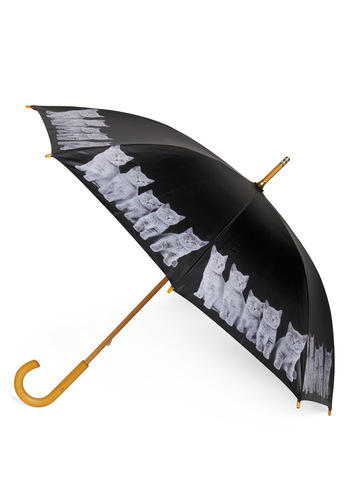 When It Rains, It Paws Umbrella - Black, White, Print with Animals, Cats, Spring