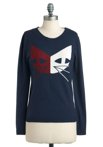 Copied Cats Sweater by Dear Creatures - Mid-length, Blue, Red, White, Buttons, Long Sleeve, Print with Animals, Casual, Fall, Epaulets, Mod