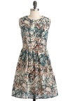 Marble-ous Time Dress - Mid-length, Multi, Print, Casual, A-line, Sleeveless, Fit & Flare
