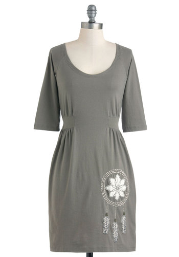 Drawn by Dreams Dress - Cotton, Mid-length, Grey, White, Casual, Shift, 3/4 Sleeve, Embroidery
