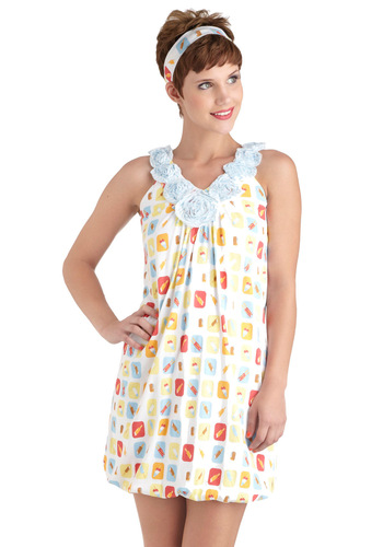 In Your Dreamsicle Nightgown - White, Multi, Print, Flower, Kawaii, Cotton, Vintage Inspired, 60s, Holiday Sale