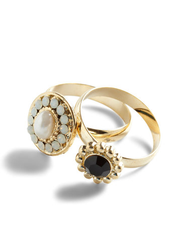Lets Stick Two-gether Rings - Black, White, Gold, Pearls, Rhinestones, Party, Cocktail, Vintage Inspired, Luxe