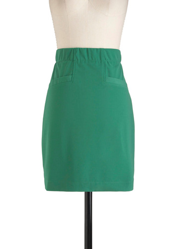 Green Machine Skirt - Green, Solid, Pockets, Work, Pencil, Mid-length, Vintage Inspired
