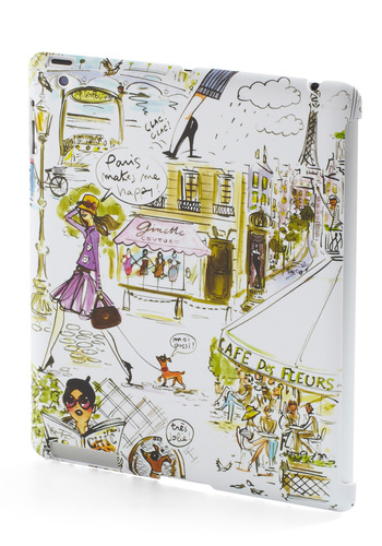 World Wide Web Celeb iPad Case - White, Multi, Travel, French / Victorian