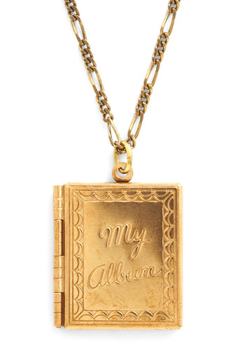 Photo Diary Necklace by Ornamental Things - Gold, Solid, Vintage Inspired, Fairytale